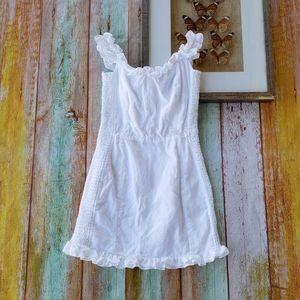 Reformation White Linen Jojoba Smocked Mini Dress